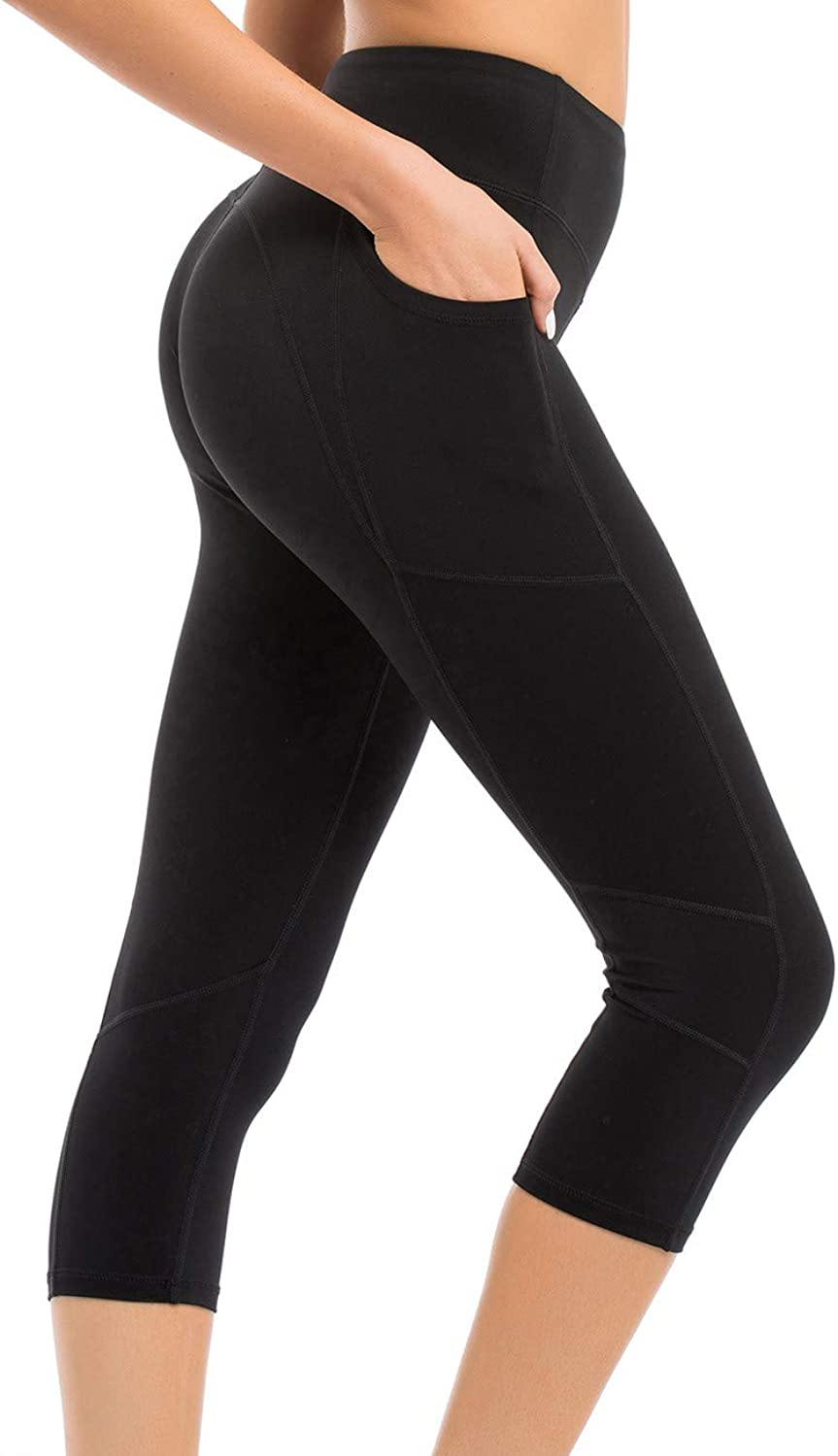 Coastal pink Women's Yoga Pants 3 4 Workout Leggings Crop Sports Tights with Side Pocket