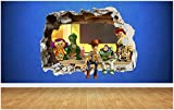 BAOWANG Pegatinas de pared Toy Story Destruido Etiqueta de la pared Estilo 3D Dormitorio Niño Niña Vinilo Arte de la pared Etiqueta Vinilo Pequeño: 50cm x 37cm