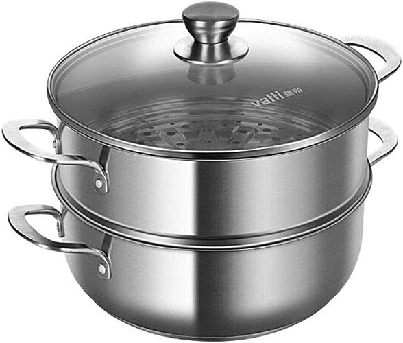 HAOYUNLAI Cuiseur à vapeur à deux couches 26cm, Cuiseur à vapeur à deux couches, Marmite en acier inoxydable 304, Cuiseur à vapeur ménager multifonctions, avec cuiseur à vapeur, haute qualité Derniers
