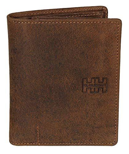 Elbleder Geldbörse Leder Braun Vintage RFID Schutz Blocker groß viele Fächer Hochformat für Damen und Herren hochwertig Echtleder Portemonnaie Geldbeutel Portmonee Portmonaise Ledergeldbeutel