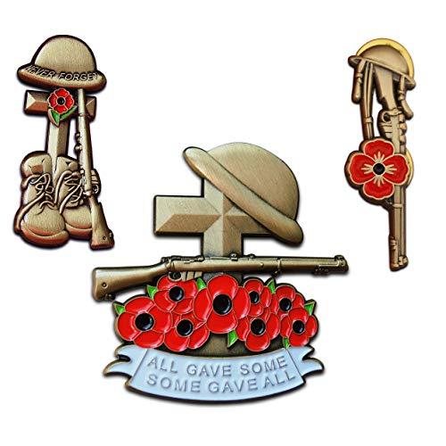 Mohnblumen-Absteckschilder-Set, 3 x Pin Helmkreuz in Geschenkbox, WW1, WW2, Militärgeschenk für Herren, Soldaten, Veteranen, Remembrance 2019 Abzeichen