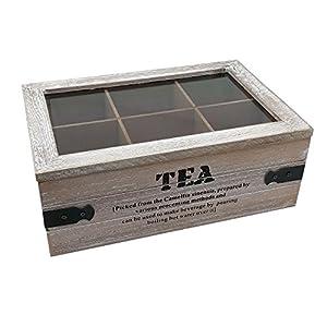 """'ToCi Boîte à thé """"Tea–Boîte à thé en deux versions–Boîte à thé avec 6et 9compartiments–Boîte à thé en bois avec couvercle au look vintage"""