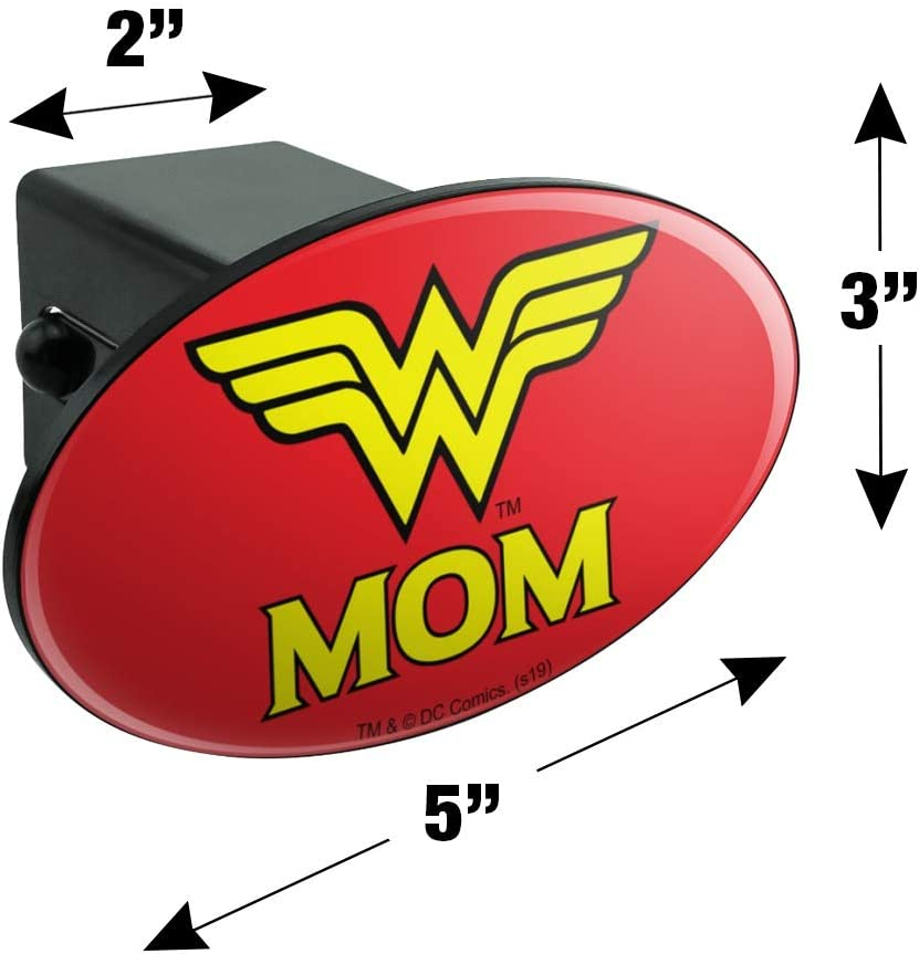 Graphics and More Wonder Woman Wonder Mom Logo Oval Tow Trailer Hitch Cover Plug Insert