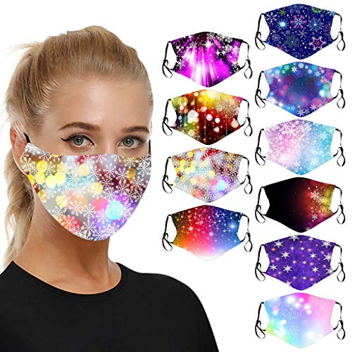 LiLiMeng 10PC Unisex Printed Washable Face Macks, Fashion Cloth Fabric Cotton Indoor Outdoor Face Macks for Women Men (S)