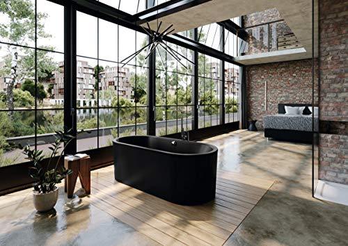 Kaldewei Meisterstück Classic Duo Oval, freistehende Badewanne, 170x75x42 cm, mit Schürze Außenfarbe lavaschwarz matt, 113-7, Farbe: Lavaschwarz Matt - 291448050717