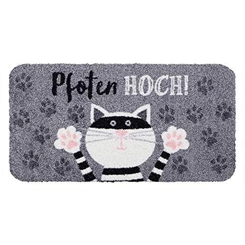 Salonloewe Pfoten hoch Katze Fußmatte 030x060 cm Schmutzfangmatte waschbar SLD1740-030x060