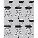 6脚セット 折りたたみ パイプ椅子 チェア スツール 背付 ブラック lh-045-6