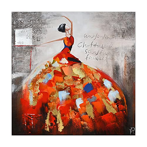 ADM - Donna - Quadro, dipinto a mano figurativo su tela con decorazioni in rilievo e montato su telaio estetico alto - Multicolore - H100 cm