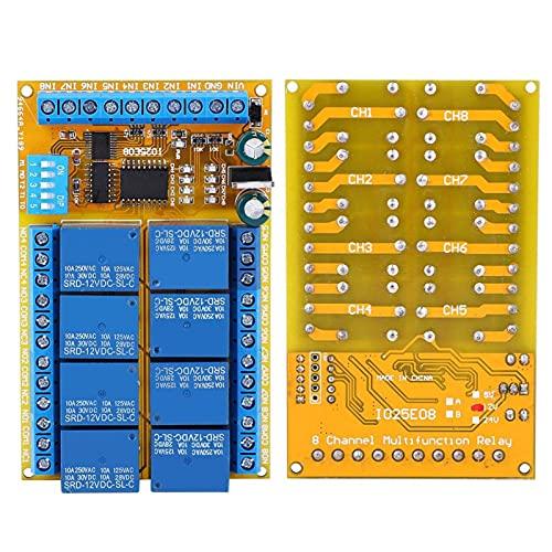 1 módulo de relé IO25E08, acondicionador de energía de interbloqueo automático multifuncional de 8 canales, 5 V / 12 V / 24 V para equipos eléctricos, suministros eléctricos(12V)
