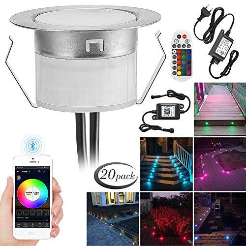 20er Set Bluetooth RGBWW Led Bodeneinbaustrahle Aussen 1.2W Ø45mm IP67 Wasserdicht LED Einbaustrahler Terrasse Küche Garten Led Lampe Full Kit