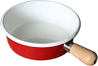 SHYPT Enamel Pan, 7 Inch Enamelware Saucepan Pan Cookware with Wooden Handle, resists odors, staining, for cooking crab lo...