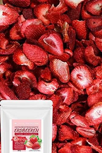 gefriergetrocknete ERDBEEREN 100g - in Scheiben - Erdbeeren getrocknet - ohne ZUSATZSTOFFE - pure Frucht - 100 % Erdbeeren - wieder verschließbar
