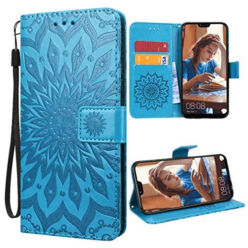 VemMore für Huawei Mate 20 Lite Hülle Handyhülle Schutzhülle Leder PU Wallet Flip Case Bumper Lederhülle Ledertasche Blumen Muster Klapphülle Klappbar Magnetisch Dünn Silikon Sonnenblume - Blau