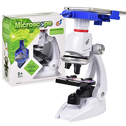 100X 400X 1200X Microscope Compound LED Student Science Lab Kit with Phone Holder