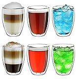 Creano, Set di 4 Grandi vetri Termici a Doppia Parete 400 ml, Bicchieri in Vetro borosilicato Resistente al Calore, Vetro per caffè/Tea