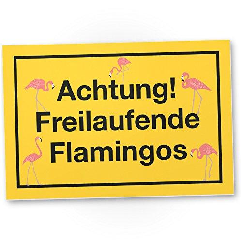 DankeDir! Achtung Freilaufende Flamingos, Kunststoff Schild mit Spruch, Wanddeko/Party Deko/Dekoration Wohnung - süße Geschenkidee Geburtstagsgeschenk - Geschenk Beste Freundin