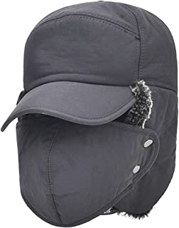 Winter Warm Facemask Cap, 3 in 1 Bomber Hat with Full Face Ear Flap, Men Trapper hat with Fur Lined