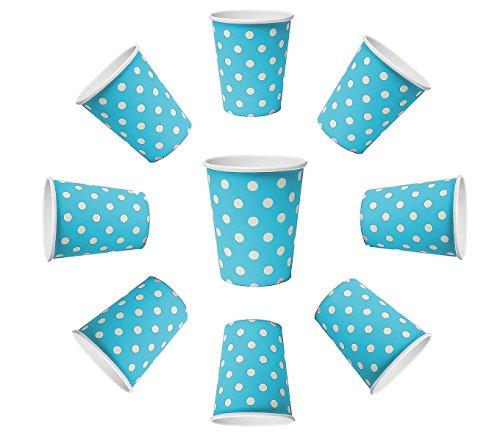 100 x bekers 230 ml stippen blauw stippen, kartonnen bekers, wegwerpbekers voor dranken, snacks, warme en koude dranken (blauw)