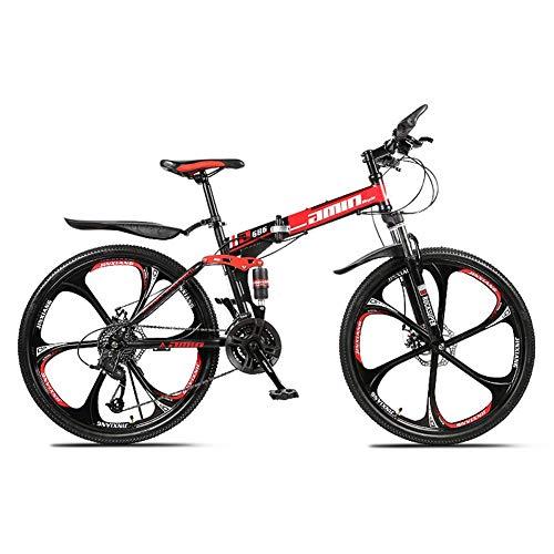 Llpeng 26-inch 21/27-velocità Montagna piegante off-Road Bike, 8 Secondi Quick Fold, Double-Shock 6-Cutter in Bicicletta, Freni a Doppio Disco Anteriore e Posteriore (Color : Red, Size : 27)