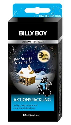 Billy Boy Kondome Aktionssortiment 12 plus 3 aus farbigen, transparenten, perlgenoppte Kondomen, 1er Pack (1 x 15 Stück)