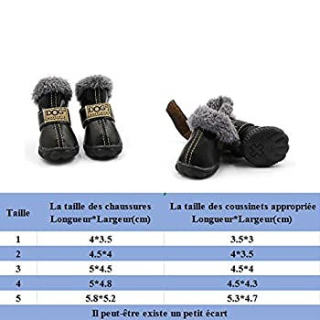 ABRRLO Bottes de Neige pour Chien Imperméable et Antidérapant Chaussure Chien avec col en Fourrure Botte pour Chien en Cuir PU haussures des Animaux de Compagnie Chaud et Confortable