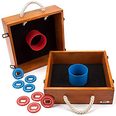 Premium Quality Outdoor Solid Wood Washer Toss Game Set For Backyard, Lawn and Beach