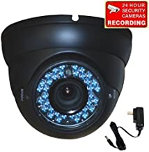 VideoSecu Dome Outdoor CCD Vandal Proof Security Camera Day Night Vision 420TVL 36 IR Infrared Leds 4-9mm Zoom Focus Varifocal for Home CCTV DVR Surveillance System with Power Supply 1ZH
