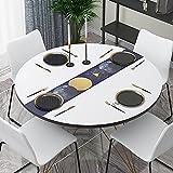 xiaopang Mantel de algodón lavable, diseño de borlas, rectangular, ideal para cocina, comedor, mesa, decoración de buffet, 110 x 110 cm