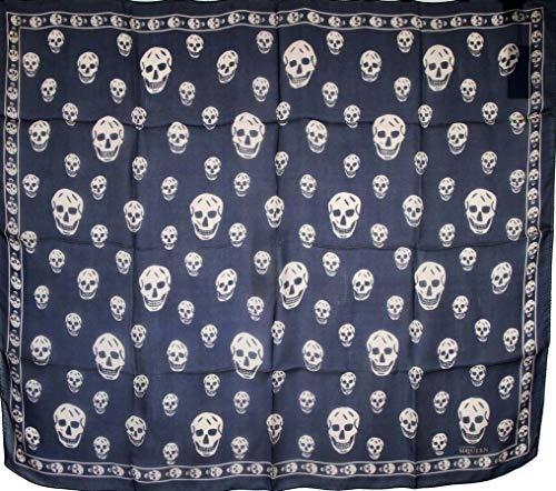 Alexander McQueen Women's Sapphire/Blue Skull Chiffon Silk Scarf 110640 4272