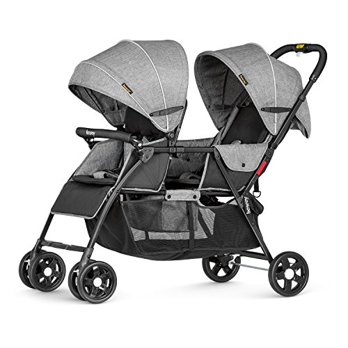 besrey Double Stroller for Infant and Toddler, Kids All Terrain Tandem Stroller, Foldable Twin Baby Stroller, Lightweight Newborn Duo Stroller, Gray (0-36 Month)