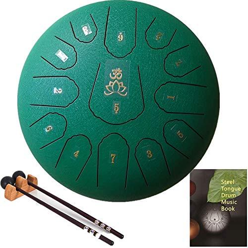 AiLa Stahlzungentrommel Steel Tongue Drum-C Tune 13 Noten 12 Zoll Handtrommel-Schlaginstrument Handpan mit Trommelschlägeln/Tragetasche für Meditation Yoga Klangheilung(Grün)