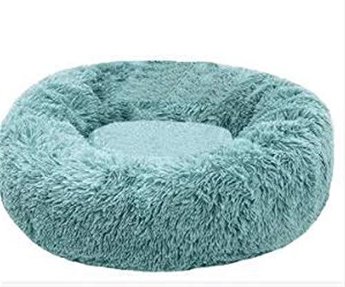 xqkj Turquoise Pet Dog Bed - Comfort Donut Embracker Redondo Perro Wo, Cama De Gato De Invierno De Invierno, Baño De Baño De Gato Bolsa De Dormir Ortopedia Y Mejorar El Sueño, Patinaje Sumergible