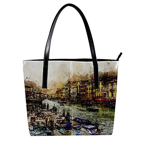 LORVIES Venice Grand Canal Venezia Boats Umhängetasche aus PU-Leder und Handtasche für Damen