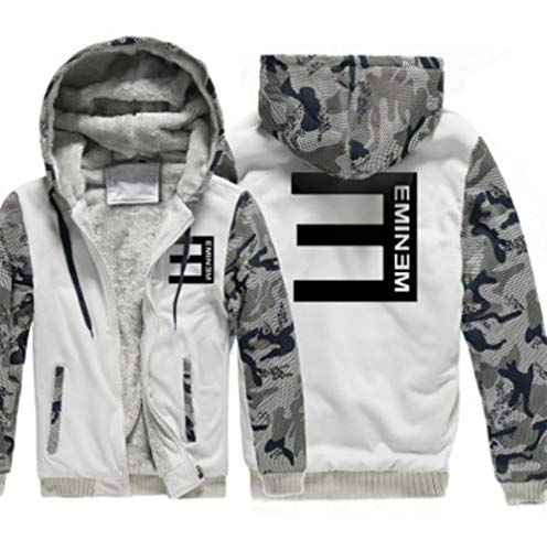 LJIEI Sudadera Camuflaje Eminem Camiseta Deportiva de Manga Larga y Chaqueta de Punto de Lana para Hombre, Gris Claro, XXL