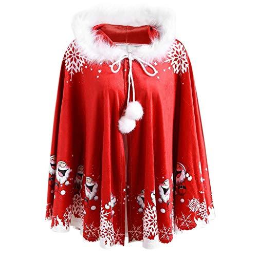 Squarex Family Mantel für Damen, mit Kapuze, Weihnachtsmann-Mantel, Kinder, Size for Mom, Einheitsgröße