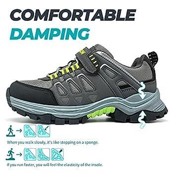 Chaussures de Randonnée Garçon Chaussure de Marche Enfant Chaussures Trekking Fille Trail Randonnée Montantes léger Outdoor Sneakers Antidérapant Mixte Enfant(C Gris Vert,31EU)
