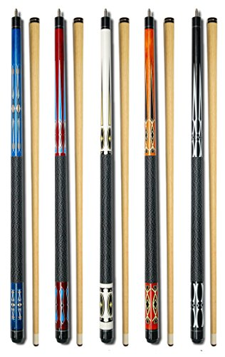 Set of 5 Pool Cues New 58' Billiard House Bar Pool Cue Sticks GJ-1~GJ-5
