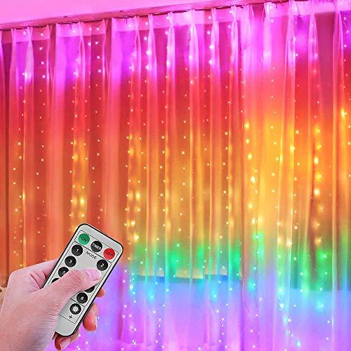 Greatever Lichtervorhang, 300 LEDs Bunt Lichterkettenvorhang 3Mx3M IP65 Wasserfest 8 Modi Mehrfarbig Lichterkette für Weihnachten Party Schlafzimmer Innen und außen Deko Nicht abnehmbar