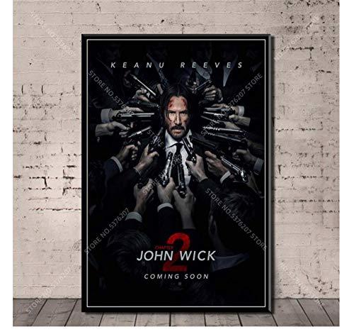 MTHONGYAO Poster Affiche John Wick Série De Films Keanu Reeves Beau Tueur Mur Art Toile Peinture Art Décor Décoration De La Maison 50 * 70 Cm Pas De Cadre