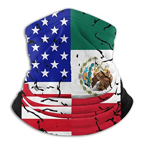 XXWKer Calentador de Cuello Deporte Calentador Pasamontañas Polar Máscara USA Mexico Flag Men & Women Face Neck Warmer Head Wrap For Fishing
