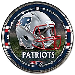 WinCraft New England Patriots NFL Chrome Round Clock
