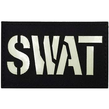 Ohrong SWAT reflectante IR táctico parche policía fuerza especial negro moral insignia camuflaje brazalete emblema apliques: Amazon.es: Hogar