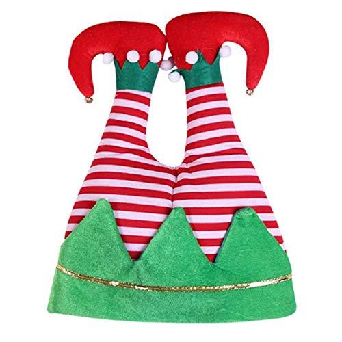 aolongwl Sombrero de Santa Novedad Divertido 3D Navidad Santa Pantalones Sombrero Elfo Piernas Tapa de Navidad Disfraz de ElfPants