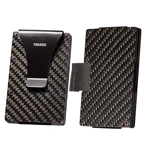 Carbon Fiber Credit Card Holder RFID Blocking Anti Scan Metal Wallet Money Cash Clip-Drawing type