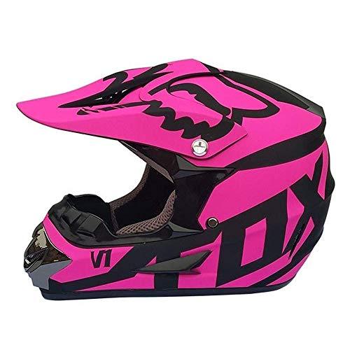 LSLVKEN Casco De Motocross, Negro Y Rosa/Certificado Dot Motocross Adultos, Bicicleta De...