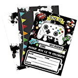 Watercolor Video Game Party Invites - 20 Set Fill-in Invitations with Envelopes for Boys Game Theme Birthday Party Supplies Double-Sided Printed Invitation Cards