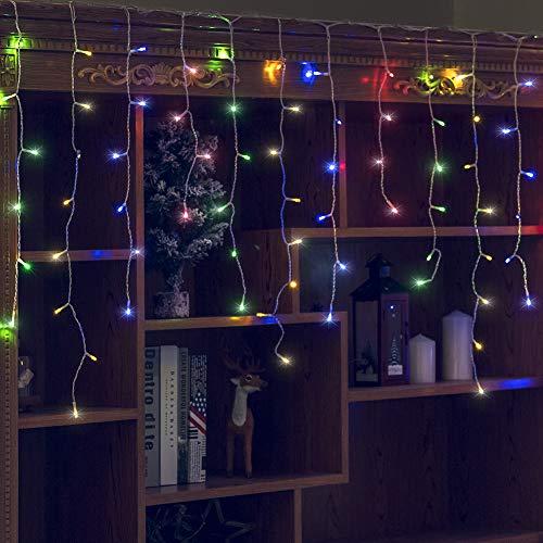Orangie Luces LED para carámbano, 96 L con 8 modos, cortina de hadas, guirnalda de luces LED para bodas, Navidad, Halloween, Acción de Gracias, Pascua, fondos de fiesta, decoración de patio familiar