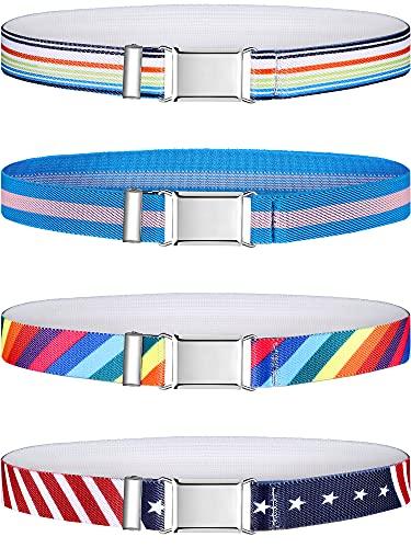 Hamry 4 Pieces Kids Elastic Stretch Belt for Boys Girls Adjustable Elastic Belt with Metal Buckle Child Belts