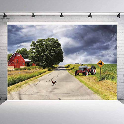 8x8FT Vinyl Backdrop Photographer,Rural,Barn and Tractor on Side Background for Baby Birthday Party Wedding Graduation Home Decoration