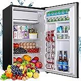 Mini Fridge with Freezer, TECCPO 3.2 Cu.Ft Compact Refrigerator, Energy Star, Adjustable Thermostat Control, Reversible Door, Super Quiet for Dorm, Bedroom, Apartment, Kitchen